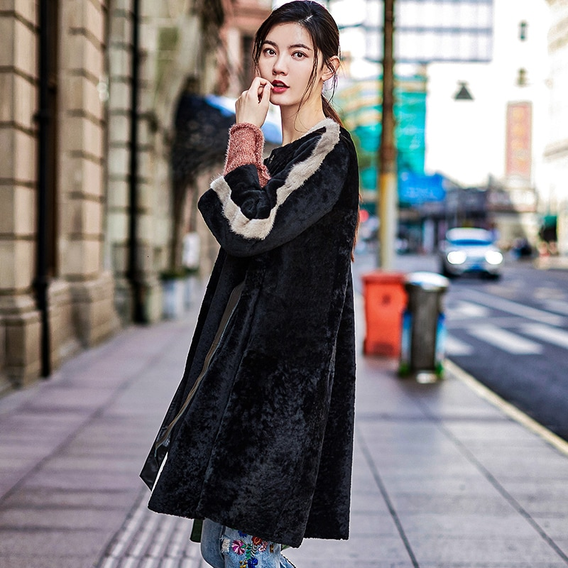Abrigo de piel Real para Mujer Abrigo de invierno de lana Natural Chaqueta larga para Mujer ropa de piel de visón Abrigo Mujer K71169 YY780