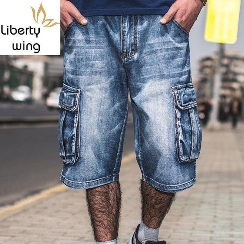 Summer Large Size 40 42 44 46 Men Hip Hop Cargo Denim Knee Length Loose Baggy Jeans Shorts Multi Pockets Male Streetwear