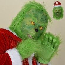 Maschera Del Mostro Verde-Dai Capelli Lunghi Grinch in Lattice Del Partito di Natale Divertente Maschere di Carnevale per Il Costume Del Partito di Natale Prop