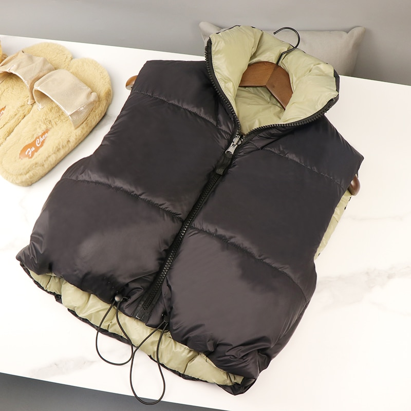 Cropped Vests For Women Winter Coat Warm Vest Down Jacket Female Sleeveless Parkas Short Waistcoat D