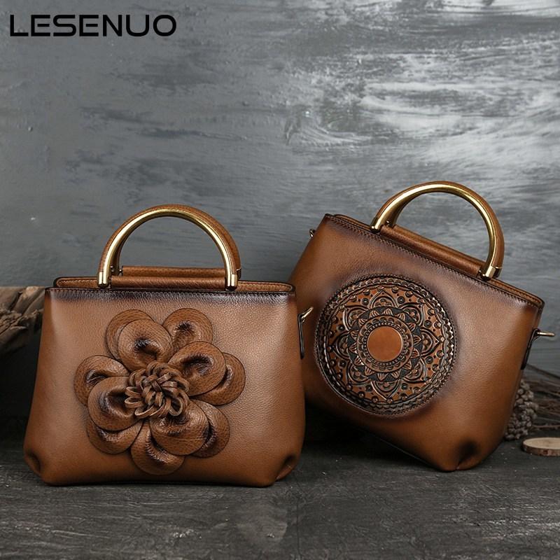 LESENUO 2021 Vintage Genuine Leather Handbags Luxury Designer Women Crossbody Bags Cow Leather Multi-Function Shoulder Bag