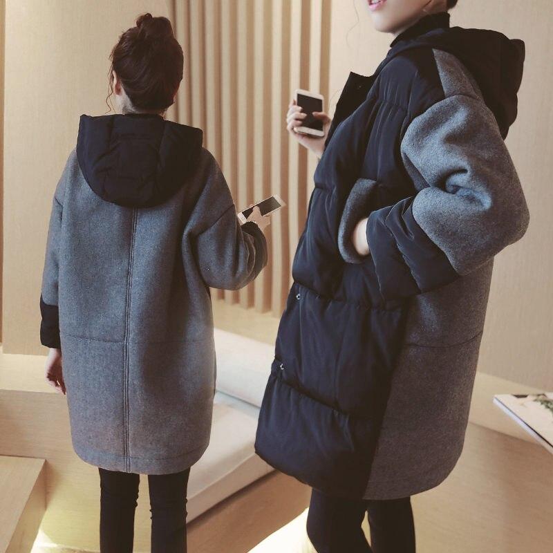 Зимнее пальто для беременных, шерстяное пальто, куртка, толстая Корейская Повседневная Свободная длинная куртка с хлопковой подкладкой для...
