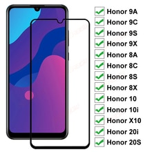 9D Full Tempered Glass For Huawei honor 9A 9C 9S 9X 8A 8C 8S 8X Screen Protector Honor 9i 10i 20i 20