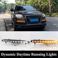 whiteamber dynamic led daytime running lights for q7 2010 2015 waterproof 12v turn signal lamp fog lights