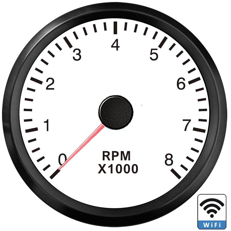 جديد WiFi 0-8000RPM 52 مللي متر مقياس سرعة الدوران للمولد دراجة نارية ATV للبرمجة مقياس خلاط إسمنت بموتور بنزين ديزل أبيض/أصفر الخلفية 9-32 فولت