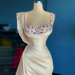 Bead Flower Evening Dresses 2021 Satin Mermaid Spaghetti Strap Prom Gowns Sexy Side Split Party Dress Custom robes de soirée
