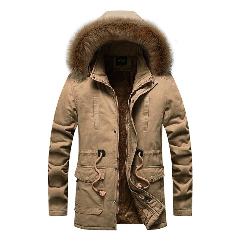 Новинка 2021, мужские повседневные модные куртки, мужские осенне-зимние парки, пальто с меховым подогревом, мужские теплые хлопковые куртки, в...