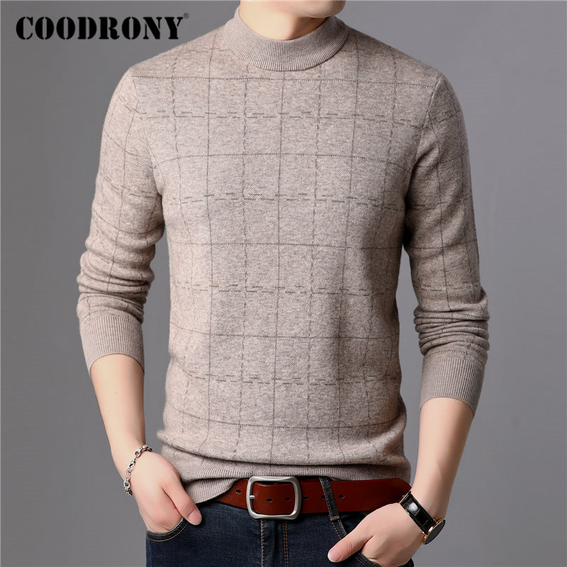Suéter marca COODRONY jersey de lana para hombre 100% Merino grueso cálido invierno suéteres suave Cachemira Casual Plaid Pull Homme 93026