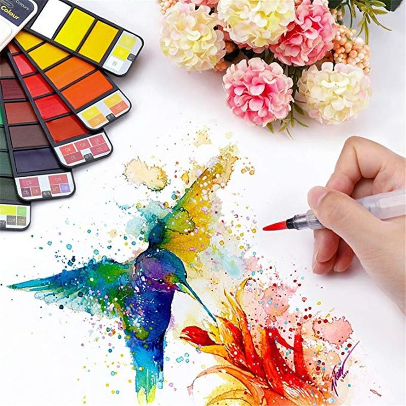 San 18/25/33/42 Solid Paint Set Watercolor With Water Brush Pen Foldable Travel watercolor pigment set superior watercolor drop