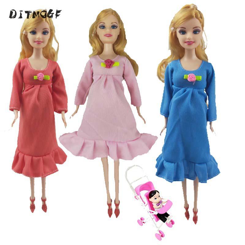 Игрушки для всей семьи, кукла 3 человека, костюм для мамы/маленького сына/1, детская коляска, настоящая кукла для беременных, подарки