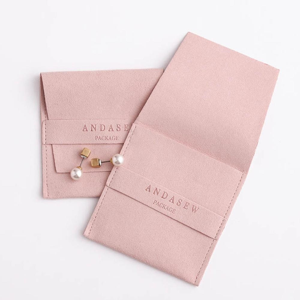 50pcs Customize Business Logo Text Jewelry Packaging Pouches Chic Small Microfiber Bags For Earings Necklace Luxury Jewellery