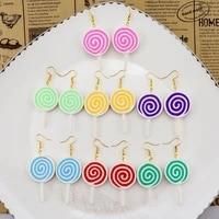 harajuku cute colorful lollipop candy pendant drop earring creative gold silver earring jewelry for women girls friendhip gift