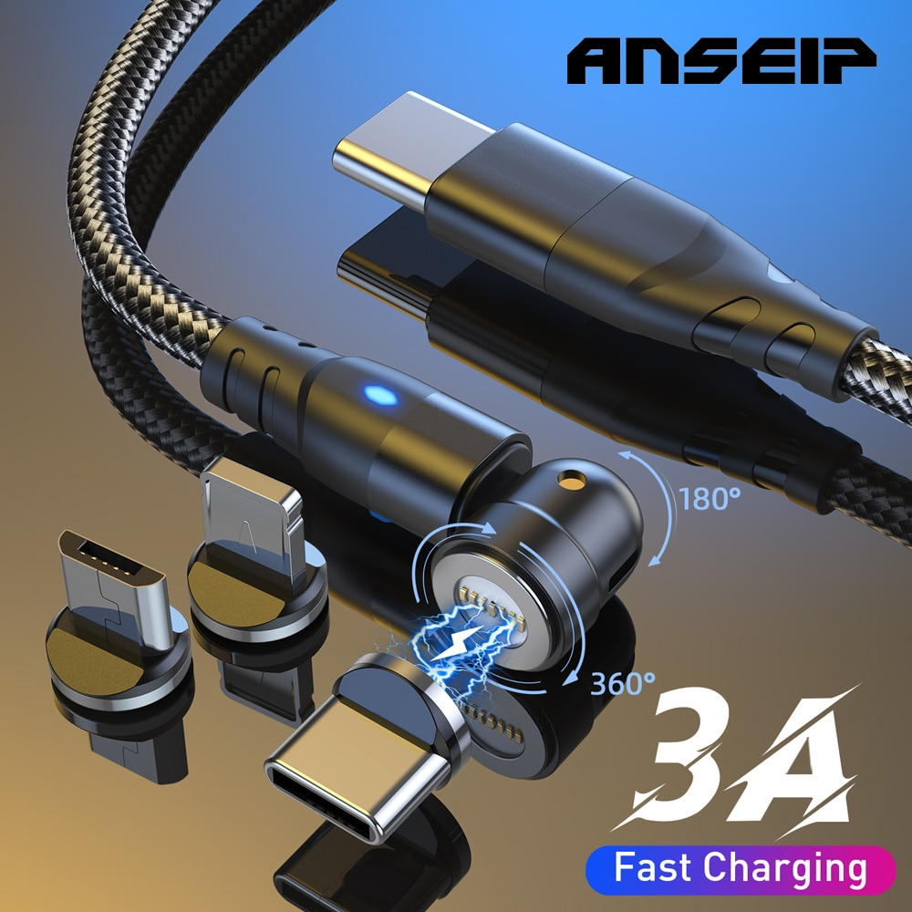 ANSEIP-Cable Usb c magnético giratorio 540, PD 60W USBc a tipo c,...