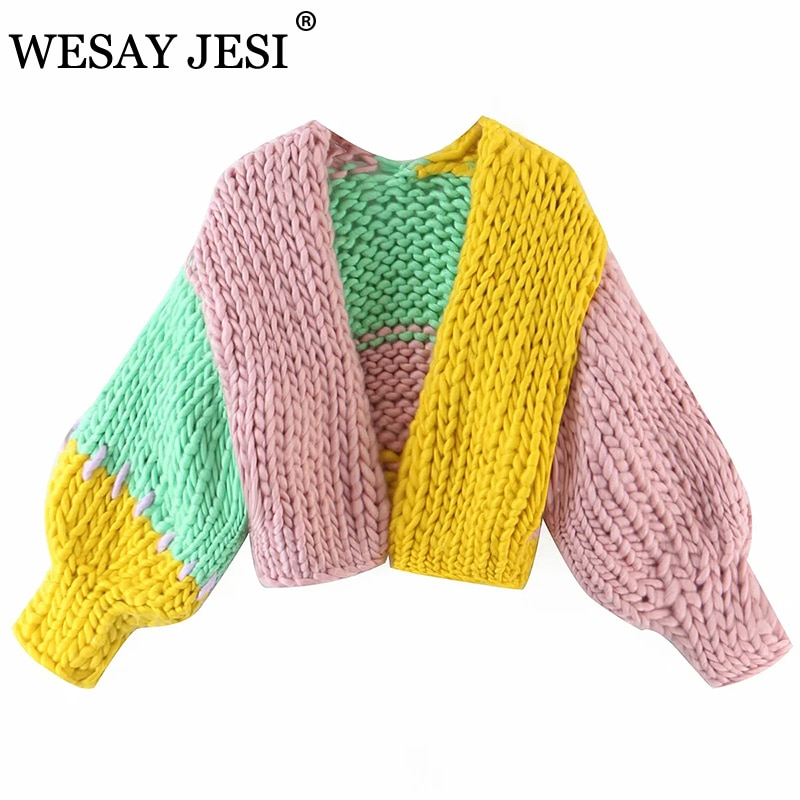 WESAY JESI ZA Autumn And Winter Cardigan TRAF Casual Colorblock Cropped Sweater Female V Neck Long Sleeve Loose Cardigan Mujer enlarge