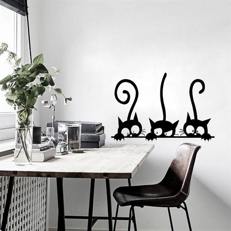 ПВХ 3D Виниловые Настенные стикеры 3 черные кошки съемные обои DIY водонепроницаемый художественная Наклейка Настенная для детской комнаты декор