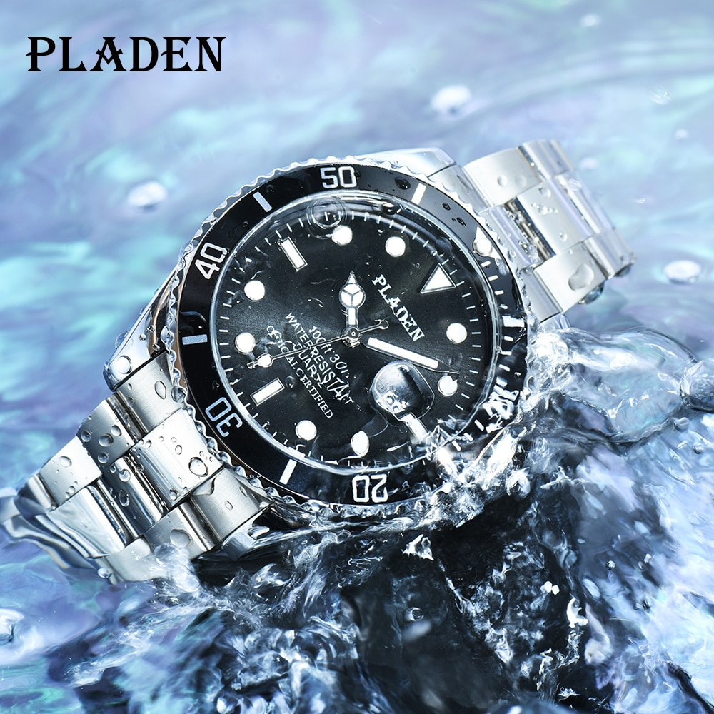 PLADEN Mens Watches Top Brand Luxury Quartz Watches Men Full Stainless Steel Clock 30M Waterproof Sh