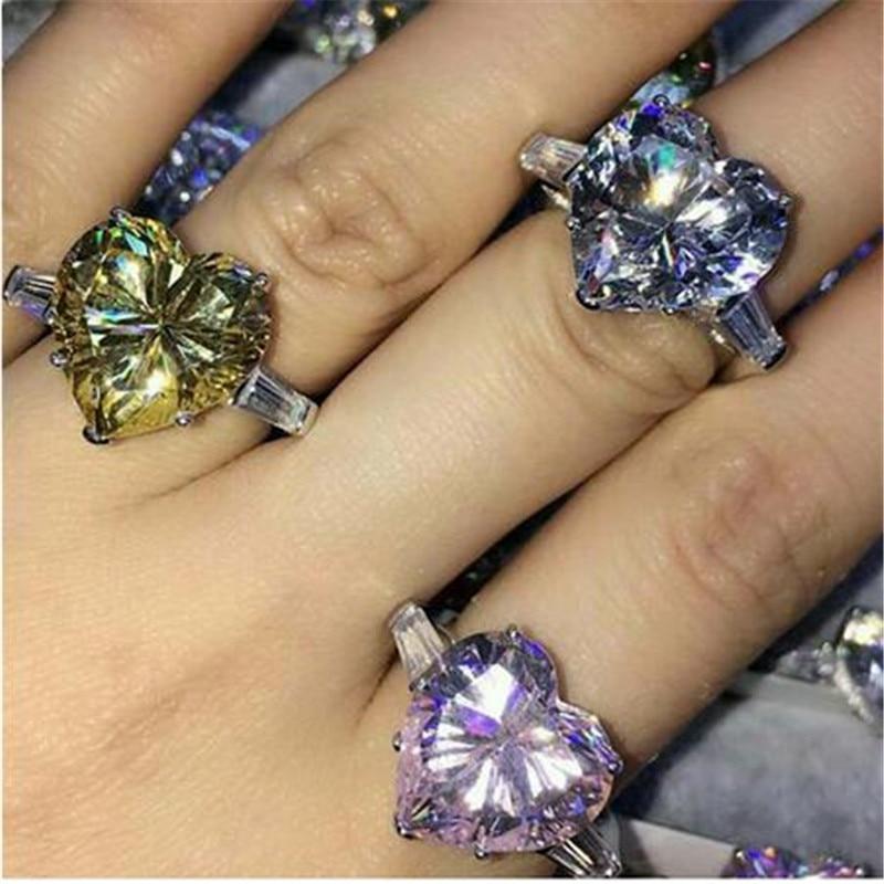 Choucong anillo de compromiso en forma de corazón Plata de Ley 925 auténtica 12mm AAAAA Cz anillos de compromiso de la banda de la boda para las mujeres joyería nupcial