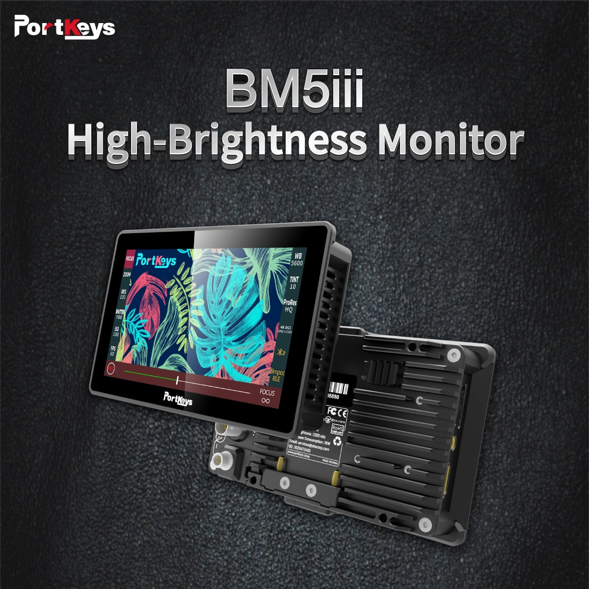 Portkeys BM5 III 2200nit Camera Control Monitor for Sony Canon ZCAM Panasonic BMD