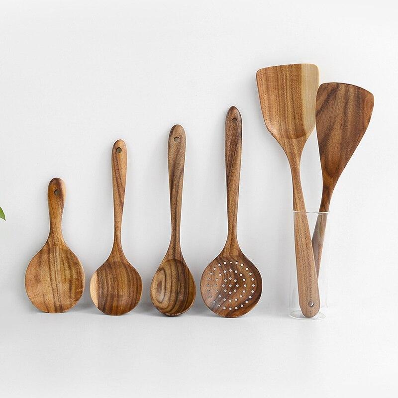 خشبية أدوات مطبخ للطبخ ملعقة الأرز مجداف مقبض طويل ملعقة مغرفة سلطة خلط تخدم ملعقة أدوات الطبخ اكسسوارات