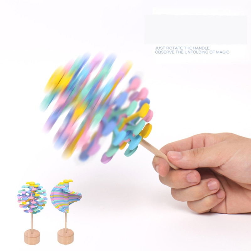 Funny Decompression Rotating Lollipop Fibonacci Sequence Desktop Decoration Decompression Anti-stress Wooden Toy enlarge