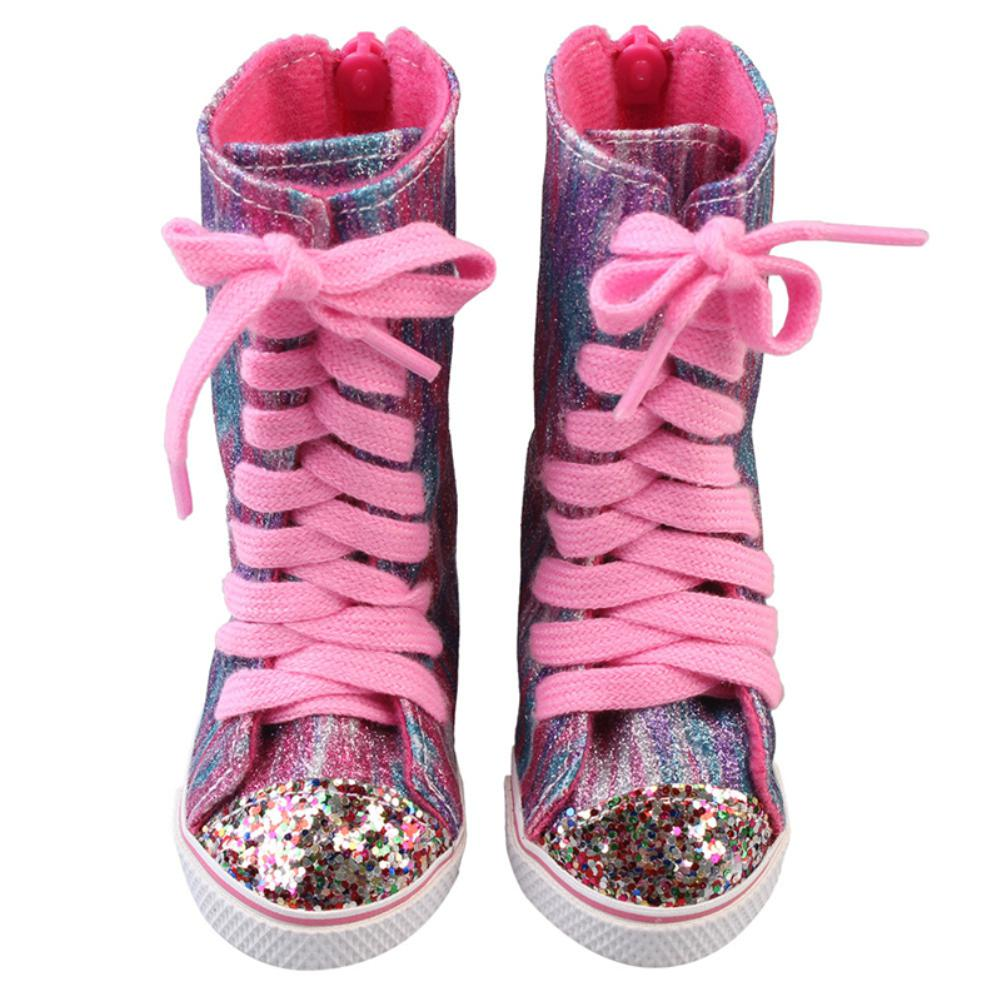 Botas deportivas 7 cm 18 pulgadas muñecas Reborn accesorios zapatos de muñeca para chica cremallera botas de atar