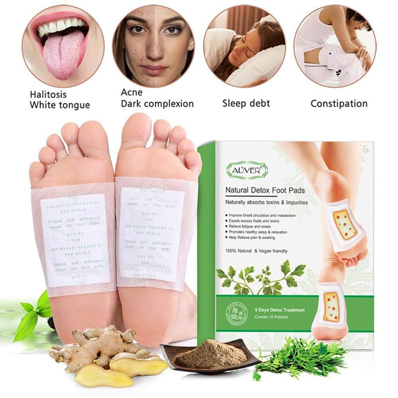 10pcs Foot Care Patches Body Toxins Feet Slimming Cleansing Herbal Adhesive Relief Relaxation Body H