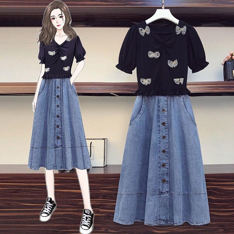 Tileewin حجم كبير الملابس النسائية الصيف مع جان فستان غير رسمي قطعتين مجموعة المرأة مكتب البدلة