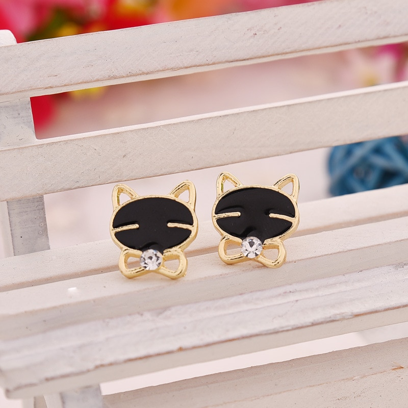 QWC New Vintage Cute Black Cat Stud Earrings For Women Simple Girls Students Gifts Lovely Party Dati