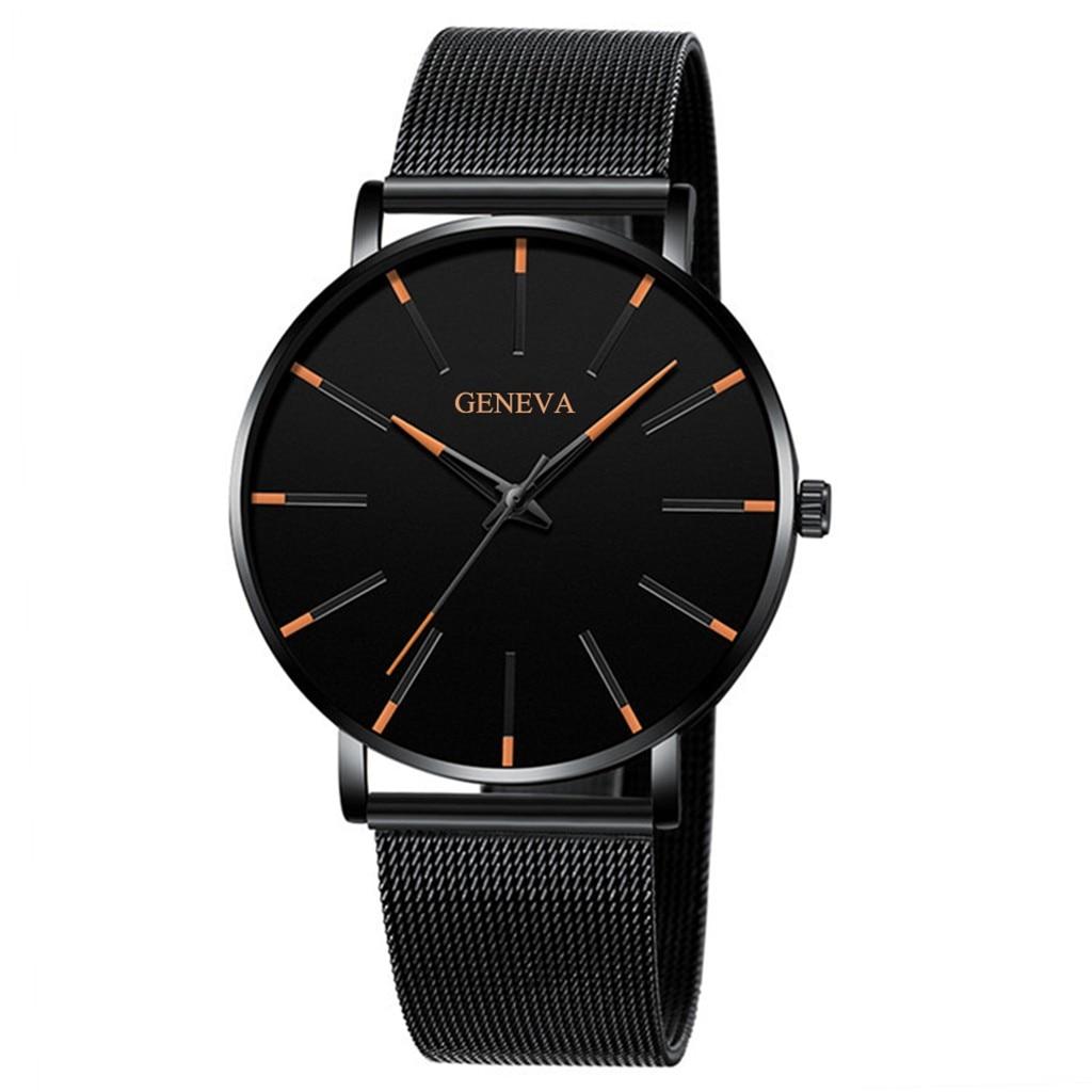 Reloj de cuarzo Casual de lujo de marca superior para hombre, reloj de pulsera de acero inoxidable, reloj de negocios negro, reloj ultrafino para hombre
