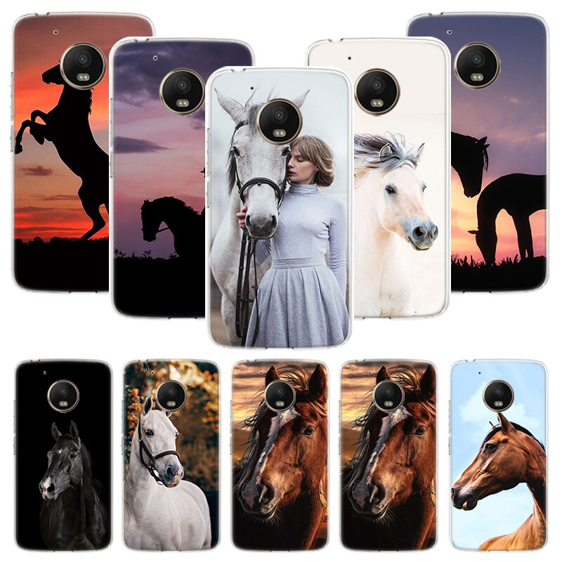 Funda caballo animal para Motorola Moto G7 G8 G6 G5S G5 E6 E4 E5 Plus Power G4 Play X4 One Action EU funda para teléfono personalizada