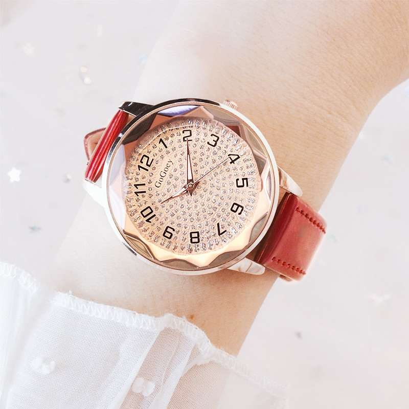 Señoras reloj de mujer Gogoey marca Montre Femme de lujo reloj de mujeres Diamante de cuero reloj relogio femenino reloj de mujer