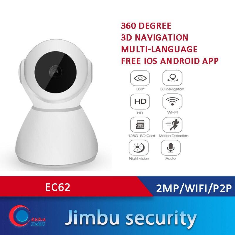 Wi-fi P2P Casa Inteligente Câmera de CFTV IP 2MP 360 Graus Câmera de Navegação radio two-way Visão noturna EC62 3D para Casa/Escritório/Bebê/Animal de Estimação