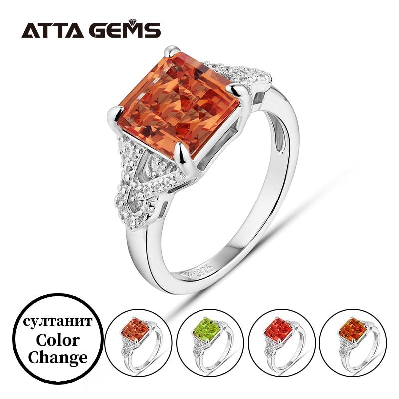 Zultanite prata anéis pricess corte 2.7 quilates criado diaspore mudança de cor pedra banda casamento feminino