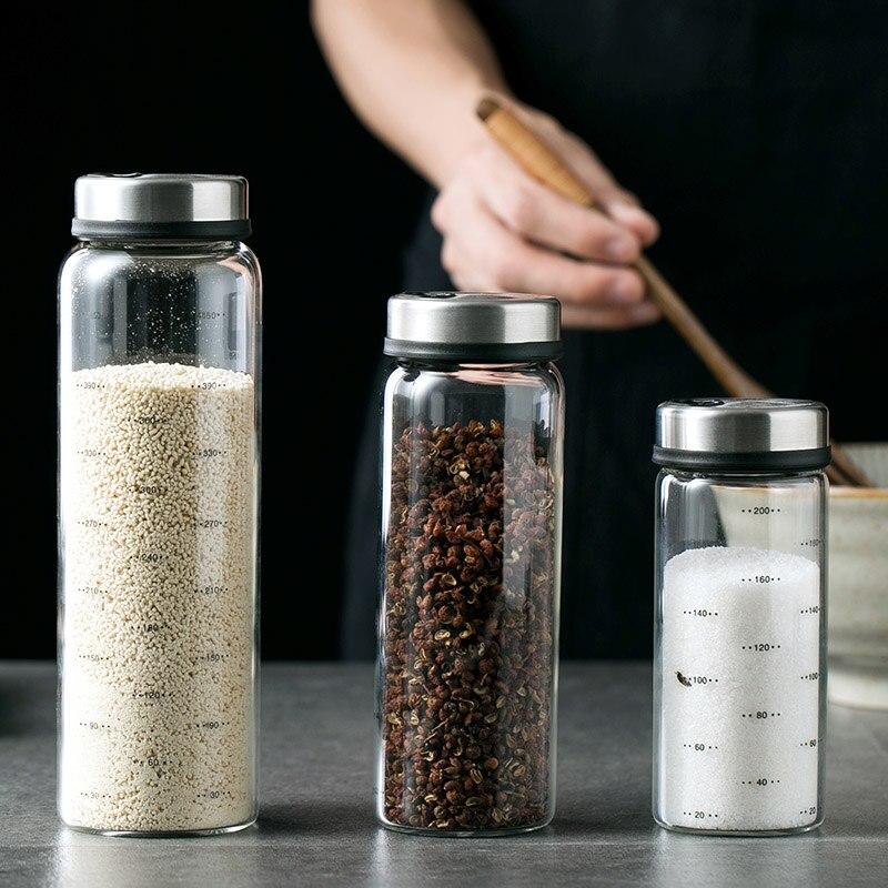 200ml 300ml 500ml alto borosilicato botellas de vidrio de almacenamiento condimento pimienta especias Shaker cocina sal sésamo condimento con tapa