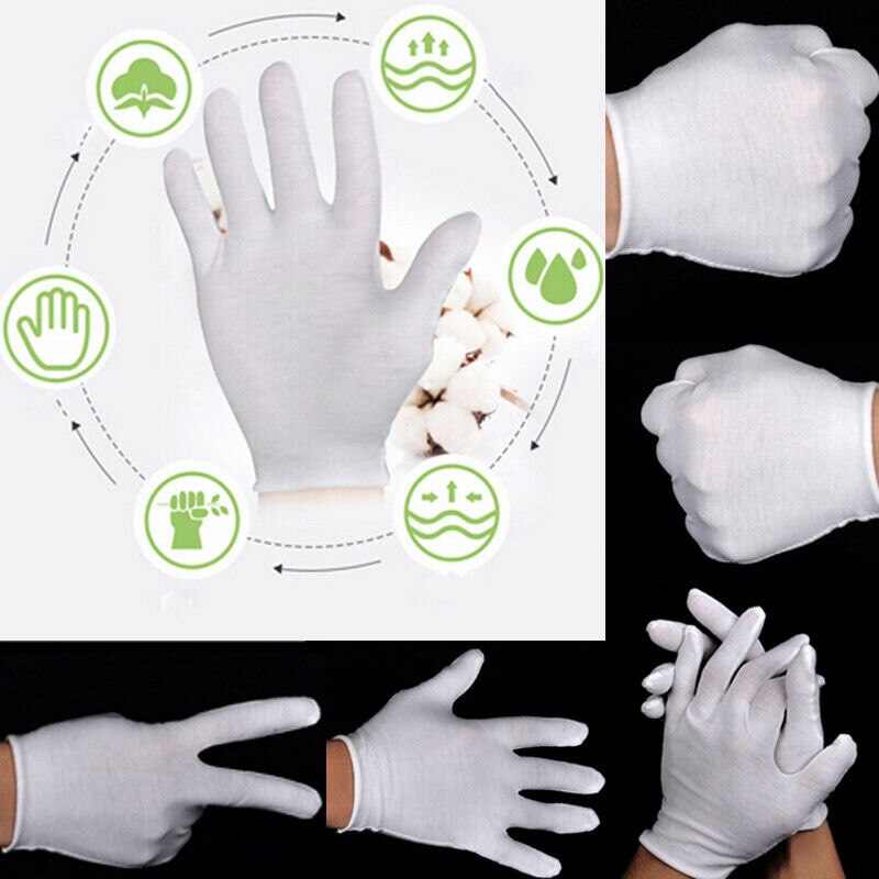 6Pair Handling Work Hands Protector Soft Costume Jewellery Women Men Household Gloves White Cotton Inspection Work Gloves