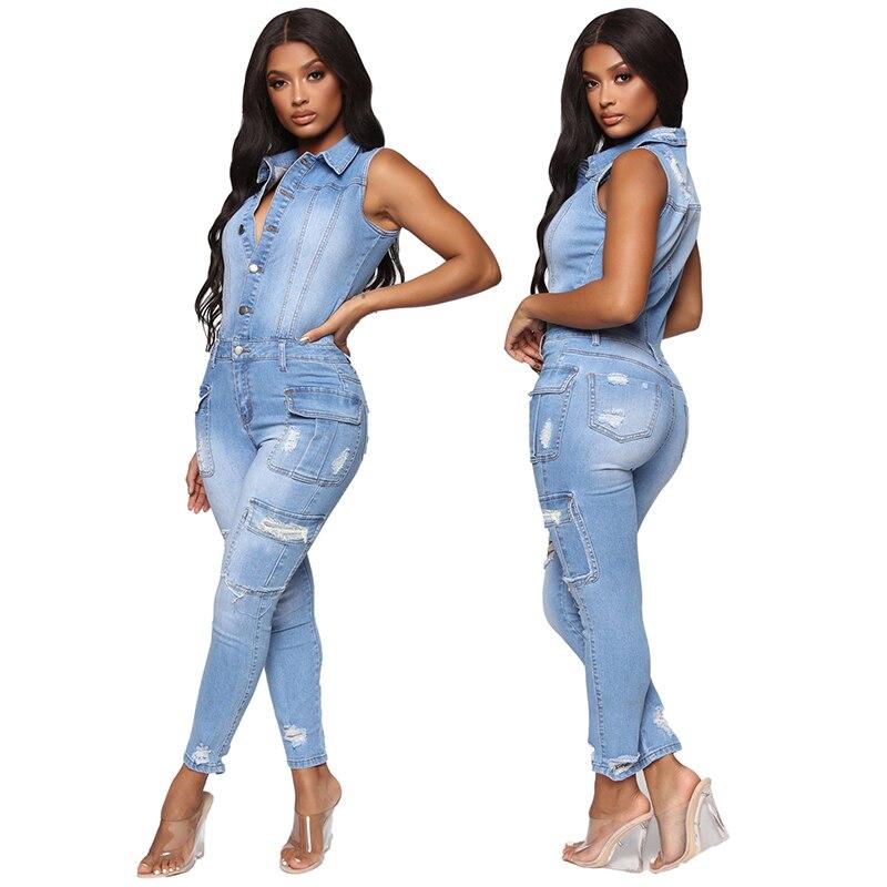 ممزق الجينز بذلة الصيف النساء الموضة بدوره أسفل طوق أكمام متعددة جيب بذلة الدينيم امرأة Bodycon رومبير كلوبوير