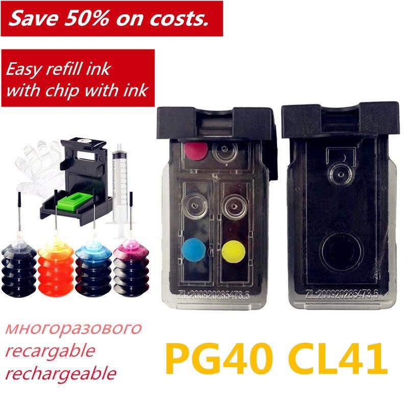PG40 CL41 Compatible cartucho de tinta rellenable para Canon PIXMA IP1800 IP1200 IP1900 IP1600 MX300 MX310 MP160 MP140 MP150 impresora