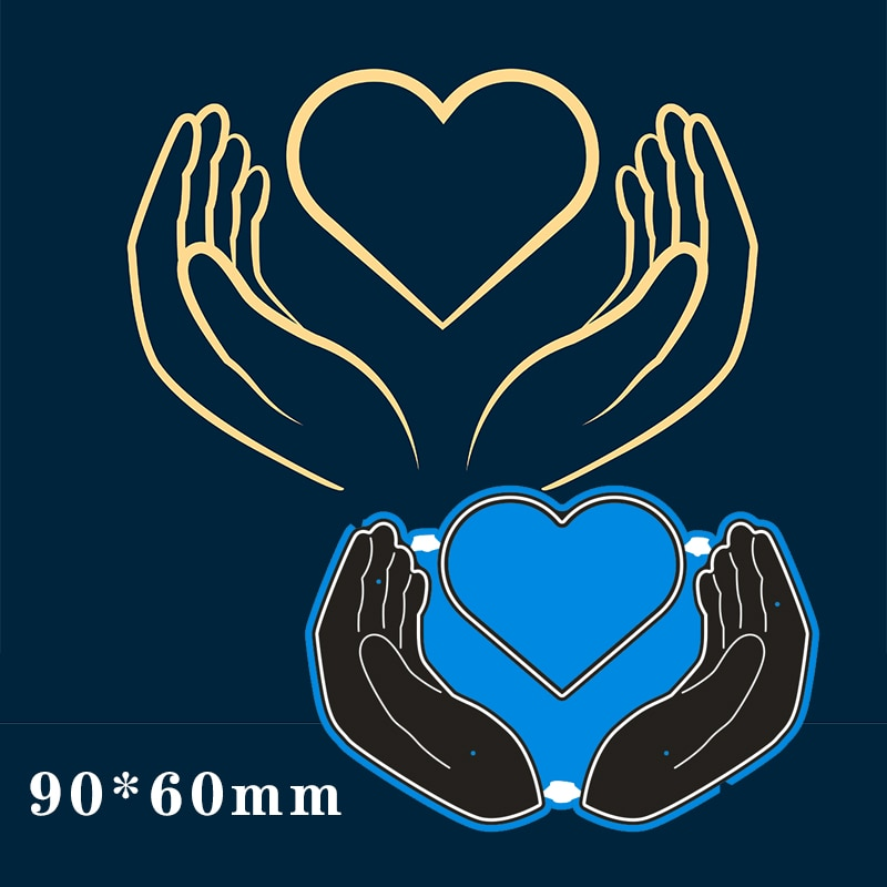 90*60mm Hold heart with both hands Metal steel frames Cutting Dies DIY Scrap booking Photo Album Embossing paper Cards