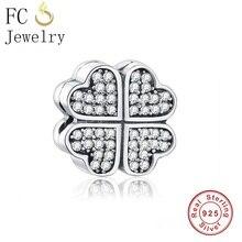 FC Jewelry Fit Original Pandora Charms Bracelets 925 Sterling Silver Four-Leaf Clover Heart Clip Stopper Beads DIY Berloque 2018