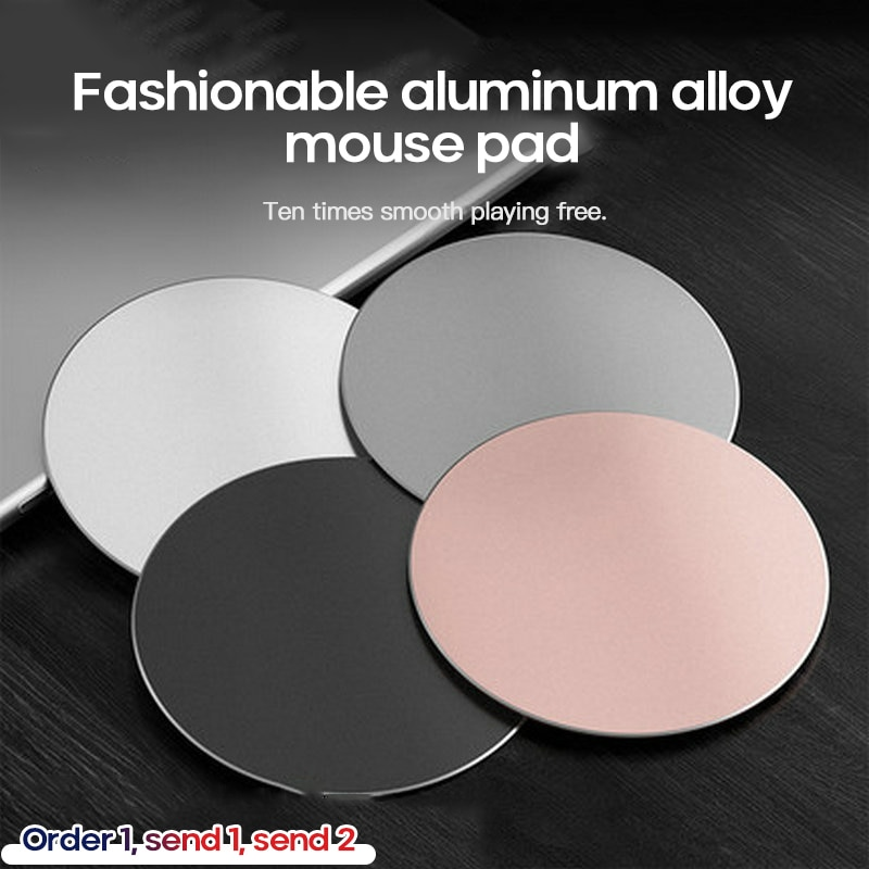 Fashionable Aluminum Alloy Mouse Pad Aluminum Metal Mousepad Creative Gift Round Mouse Gamer Gaming Pad Computer Peripherals