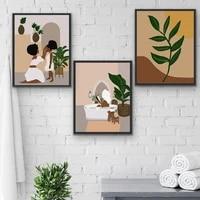 Toile dart mural femme cafe  abstrait  mode Vintage  feuille  peinture  affiches et imprimes  images murales pour salle de bains  decoration de la maison