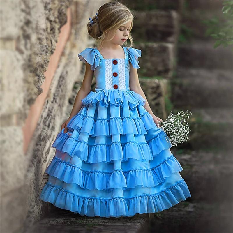 Recién nacido vestidos para niña fiesta de verano boda dama de honor azul Vestido de encaje para niñas Vestido Infantil 1 5 años princesa ropa