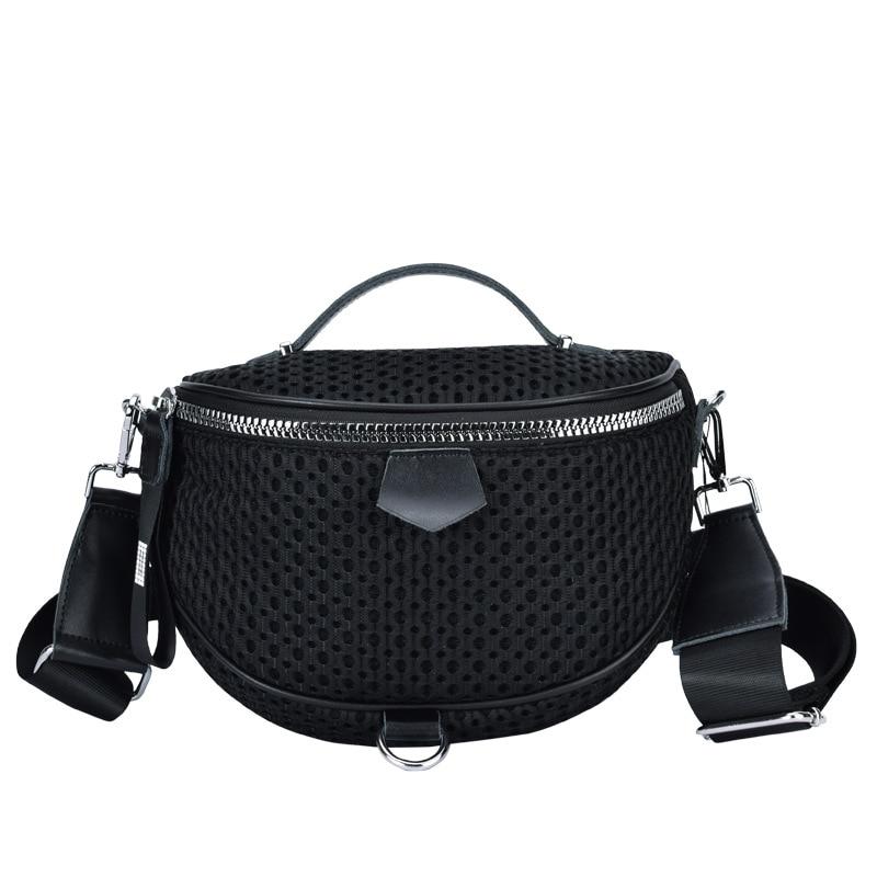 FUNMARDI 2021 New Fashion Oxford Crossbody Bags For Women Saddle Bags Female Nylon Mesh Handbags Luxury Lady Chest Bags WLHB2292