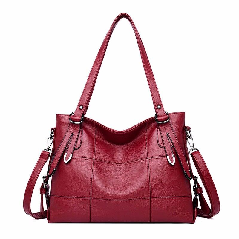 Luxury Handbags Women Bags Designer 2019 Women Soft Leather Shoulder Bag Sac A Main Plaid Large Capacity Casual Tote Bags New