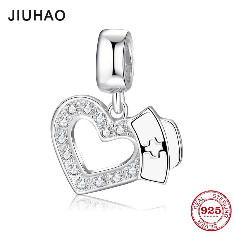 Save love 925 Sterling Silver Heart with Nurse Hat Enamel Charms fine Pendants Fit Original Pandora Charm Bracelet Jewelry 2018