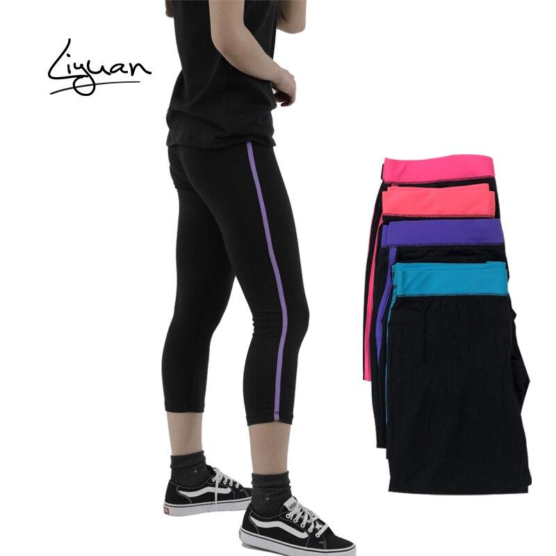 Legging de rayas de tres cuartos de longitud marca de moda slim deporte Legging Stretch pants fitness pantalón jersey cintura de contraste