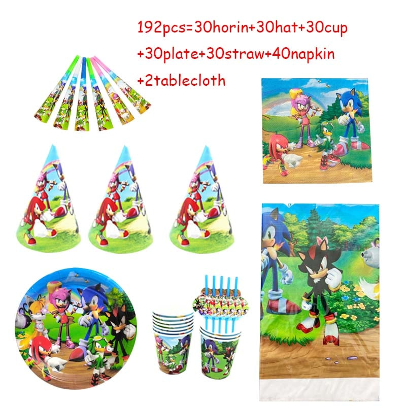 192pcs Sonice Party Decoration Favor Birthday Candy Hat Kids Boys Cups Plates Baby Shower Disposable Tableware party Supplies