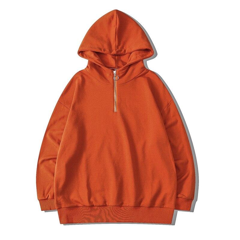 اليابان نمط الصلبة نصف سستة الرجال المتضخم هوديس البلوز طويلة الأكمام البرتقال النساء قمصان سويت شيرت بقلنسوة سوداديراس مع كابوتشا
