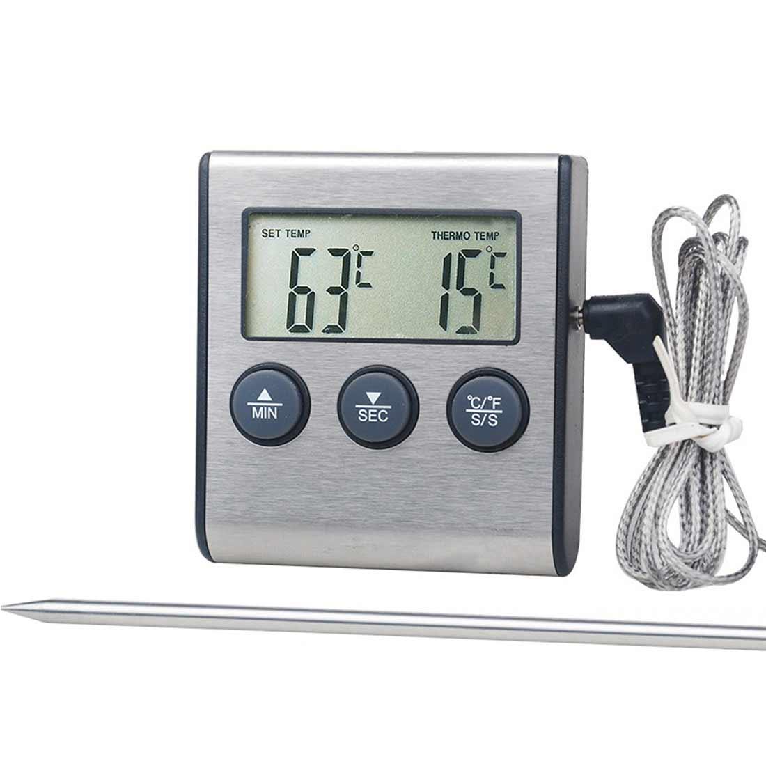 Термометры для духовки, кухонный прибор для измерения температуры пищи, барбекю, ЖК-дисплей, таймер для барбекю