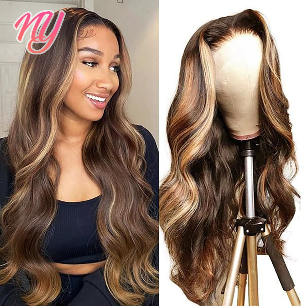 Highlight Wig Human Hair Brazilian Body Wave Lace Front Wig Highlight Wig Blonde Ombre 13x4 Lace Frontal Wig 4x4 Closure Wig